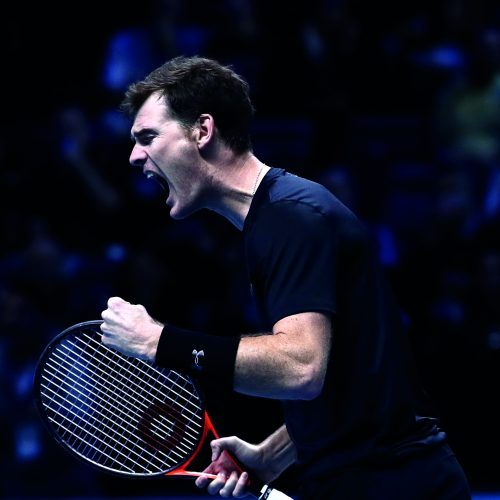 LONDON, ENGLAND - NOVEMBER 19:  Jamie Murray of Great Britain celebrates scoring a point during his and Bruno Soares of Brazil men's doubles semi final  against Raven Klaasen of South Africa and Rajeev Ram of the United States on day seven of the ATP World Tour Finals at O2 Arena on November 19, 2016 in London, England.  (Photo by Julian Finney/Getty Images)