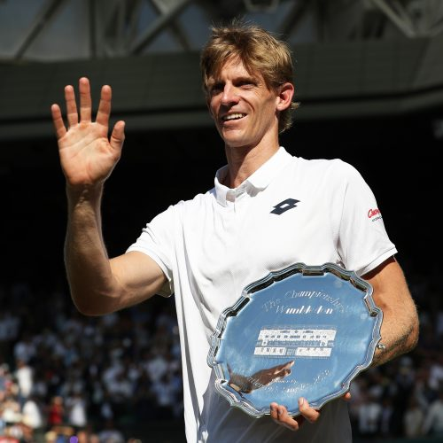 15th July 2018, All England Lawn Tennis and Croquet Club, London, England; The Wimbledon Tennis Championships, Day 13 mens singles final, Novak Djokovic (SRB) versus Kevin Anderson (RSA); Kevin Anderson (RSA) waving to the crowd holding the 2nd place plate after losing to Novak Djokovic (SRB) in the Men's Single Final (photo by John Patrick Fletcher/Action Plus via Getty Images)